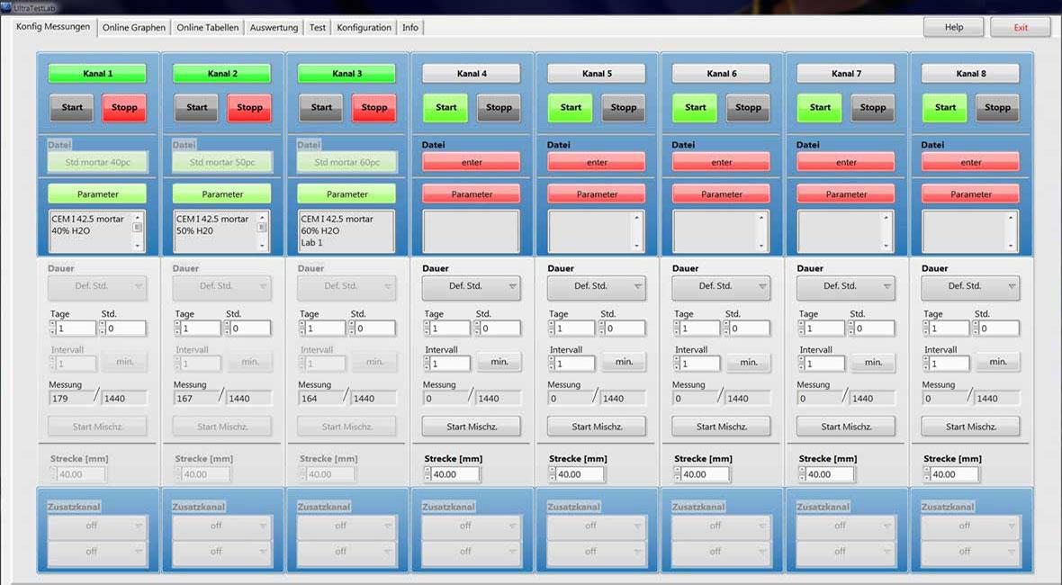 UltraTestLab© Steuer- und Auswertesoftware, Konfiguration Messungen